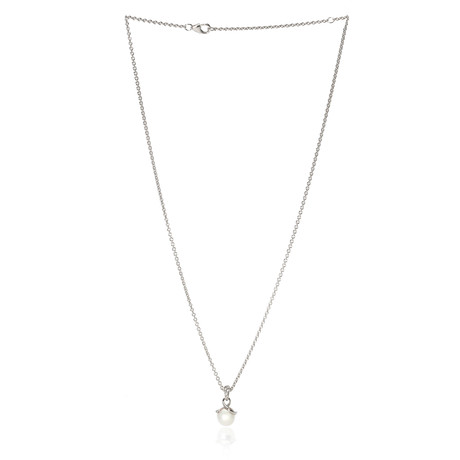 Mikimoto 18k White Gold Pearl + Diamond Necklace I