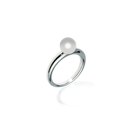 Mikimoto 18k White Gold Pearl Ring // Ring Size: 6.25