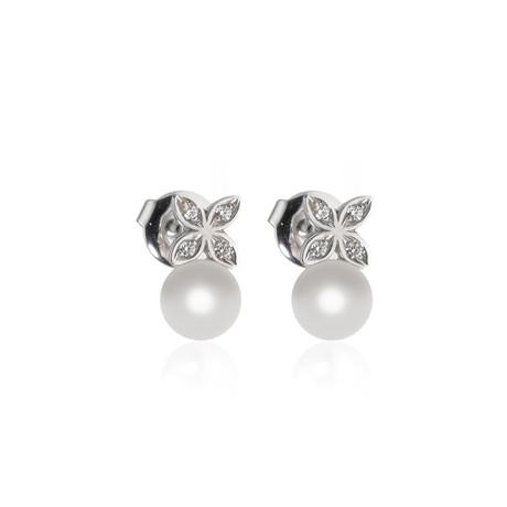 Mikimoto 18k White Gold Pearl + Diamond Earrings II
