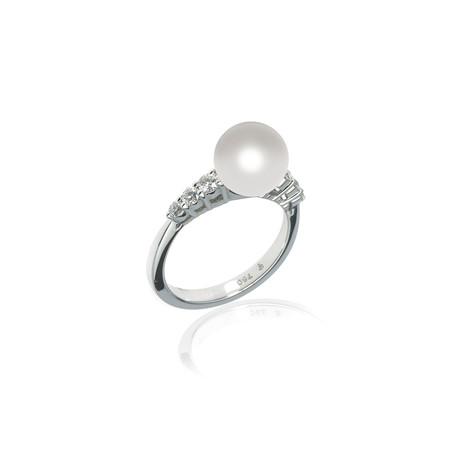 Mikimoto 18k White Gold Pearl + Diamond Ring // Ring Size: 6.5