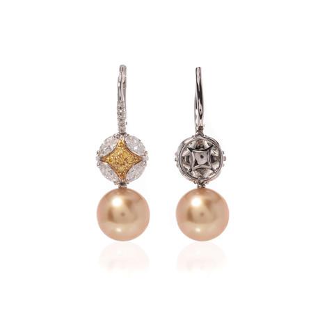 Mikimoto 18k White Gold Diamond + Pearl Drop Earrings