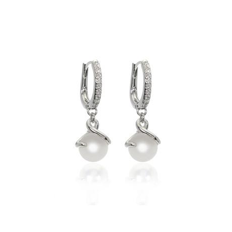 Mikimoto 18k White Gold Pearl + Diamond Earrings I