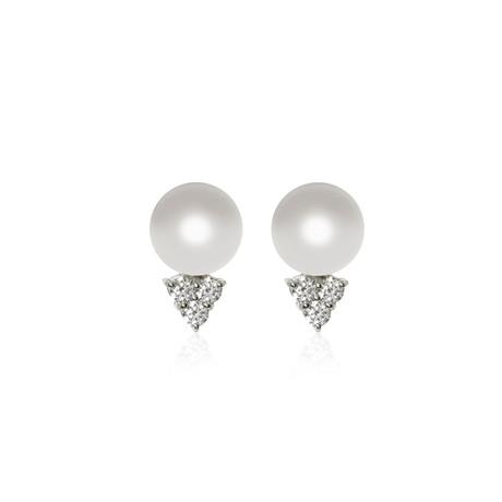 Mikimoto 18k White Gold Pearl + Diamond Earrings VI