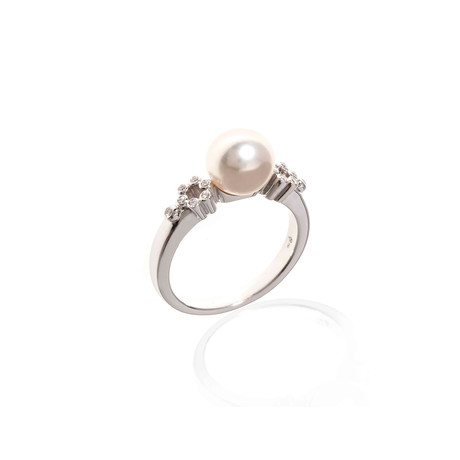 Mikimoto 18k White Gold Diamond + Pearl Statement Ring // Ring Size: 6.5