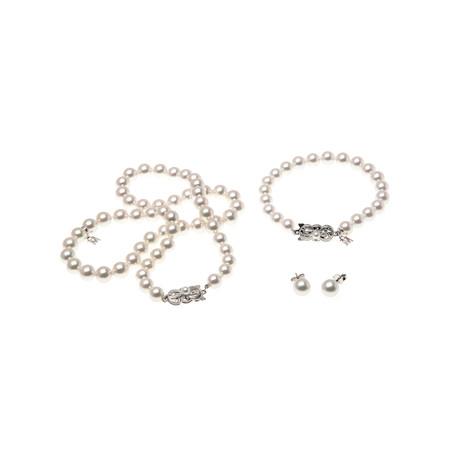 Mikimoto 18k White Gold Pearl Earrings + Necklace + Bracelet Set II