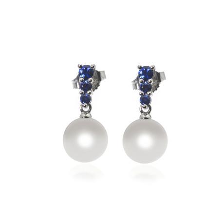 Mikimoto 18k White Gold Pearl + Sapphire Earrings IV