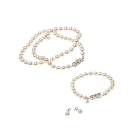 Mikimoto 18k White Gold Pearl Earrings + Necklace + Bracelet Set I