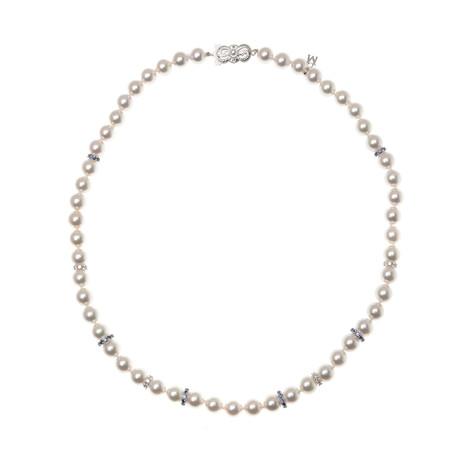 Mikimoto 18k White Gold Pearl + Diamond Necklace IV