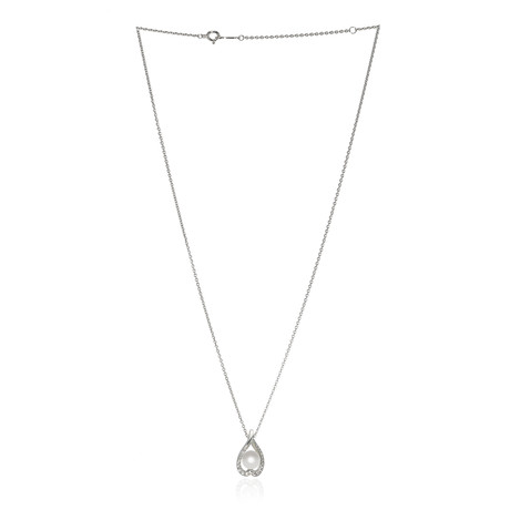 Mikimoto 18k White Gold Pearl + Diamond Necklace VI