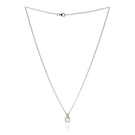 Mikimoto 18k White Gold Pearl + Diamond Necklace VIII