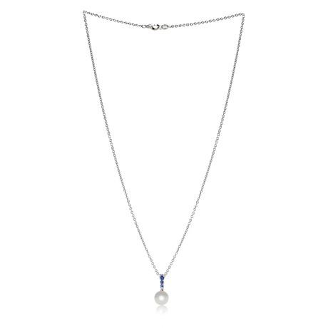 Mikimoto 18k White Gold Pearl + Sapphire Necklace I