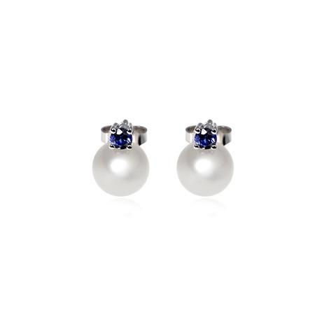 Mikimoto 18k White Gold Pearl + Sapphire Earrings