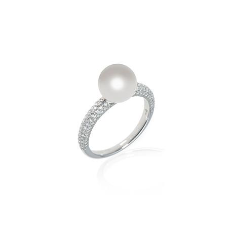 Mikimoto 18k White Gold Pearl + Diamond Ring