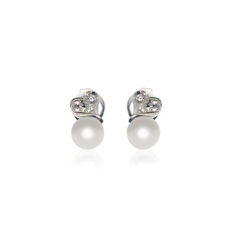 Mikimoto 18k White Gold Pearl + Diamond Earrings V