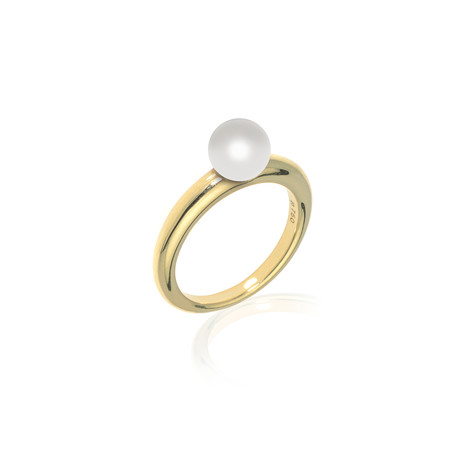 Mikimoto 18k Yellow Gold Pearl Ring // Ring Size: 6.25