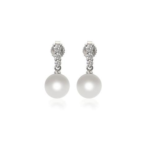 Mikimoto 18k White Gold Pearl + Diamond Earrings III