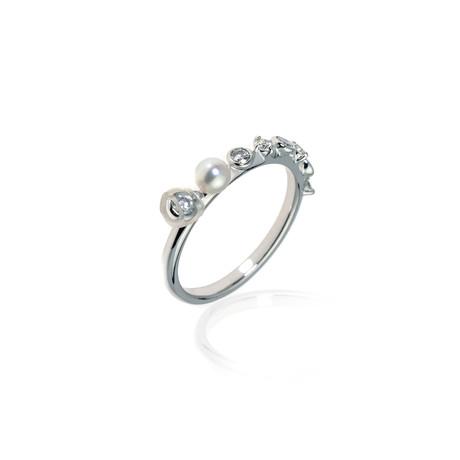 Mikimoto 18k White Gold Pearl + Diamond Ring // Ring Size: 4.5