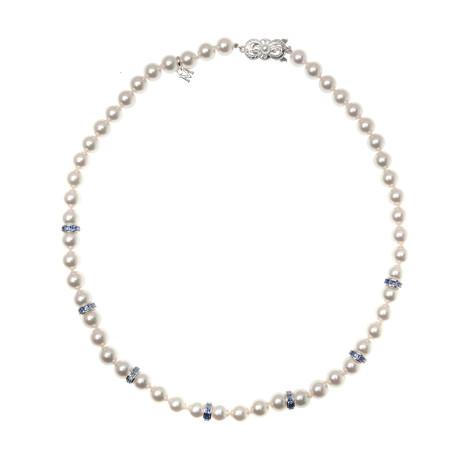 Mikimoto 18k White Gold Pearl + Sapphire Necklace II