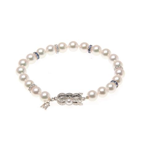 Mikimoto 18k White Gold Pearl + Diamond Bracelet