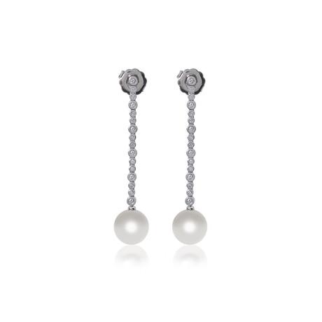 Mikimoto 18k White Gold Pearl + Diamond Earrings VII
