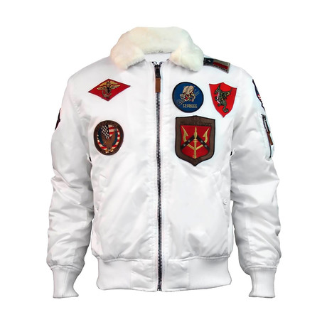 Official B-15 Flight Bomber Jacket + Patches // White (XS)