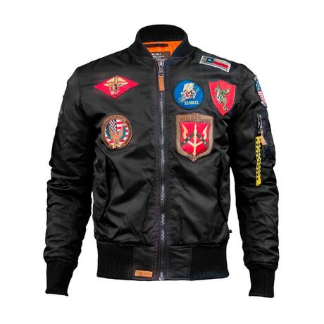 MA-1 Nylon Bomber Jacket + Patches // Black (XS)