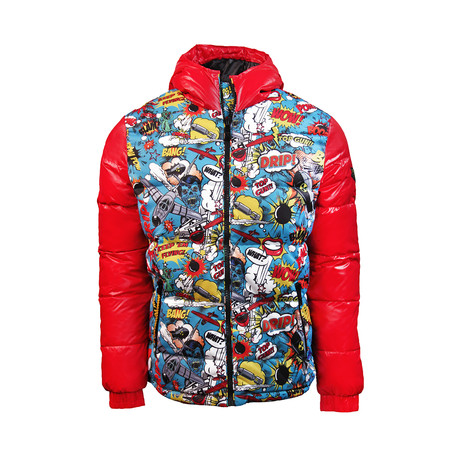 Comics Down Jacket // Red (XS)