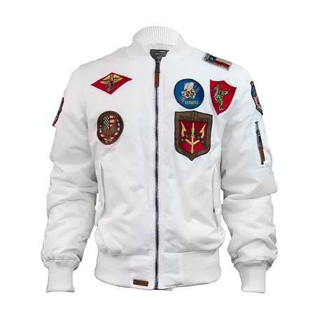 MA-1 Nylon Bomber Jacket + Patches // White (XS)