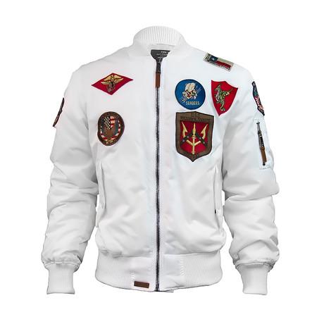 MA-1 Nylon Bomber Jacket + Patches // White (XS)