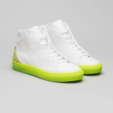 Minimal High V4 // White Leather + Lime (Euro: 40)