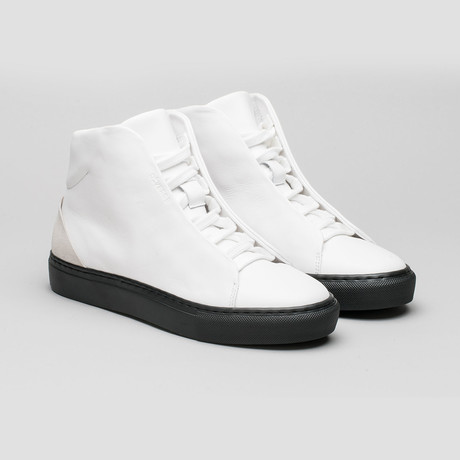 Minimal High V1 // White Leather + Bone (Euro: 40)