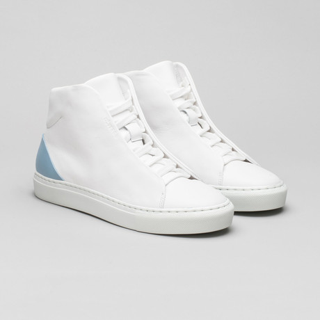 Minimal High V10 // White Leather + Artic Blue (Euro: 40)