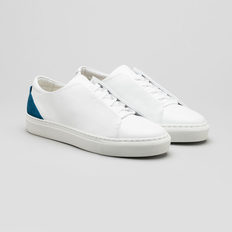 Minimal Low V16 // White Leather + Petrol Blue (Euro: 40)