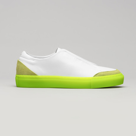 Slip On V9 // White Leather + Lime (Euro: 40)