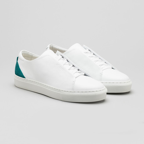 Minimal Low V13 // White Leather + Emerald Green (Euro: 40)