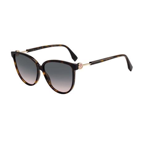 Fendi // Women's Sunglasses // Dark Havana + Green Pink