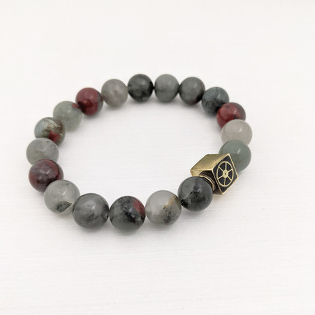 African Bloodstone Bead Bracelet // Red + Gray + Gold
