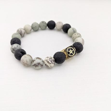 Dendritic Jasper + Lava Mix Bead Bracelet // Green + Black + Gold