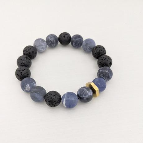 Matte Sodalite + Lava Mix Bead Bracelet // Blue + Black + Gold