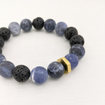 Matte Sodalite + Lava Mix Bead Bracelet // Blue + Black + Gold