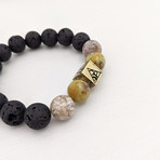 Yellow Opal + Lava Bead Bracelet // Yellow + Black + Gold