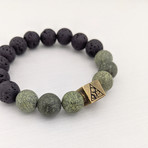 Serpentine + Lava Mix Bead Bracelet // Brass Logo Bead // Green + Black + Gold
