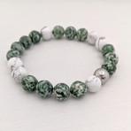 Green Spot Stone + Howlite Mix Bead Bracelet // Green + White + Rose Gold