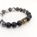 Zebra Jasper + Onyx Bead Bracelet // Black + White + Gold