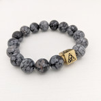 Snowflake Obsidian Bead Bracelet // Black + White + Gold
