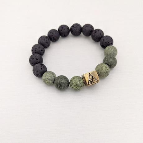 Serpentine + Lava Mix Bead Bracelet // Brass Logo Bead // Green + Black + Gold
