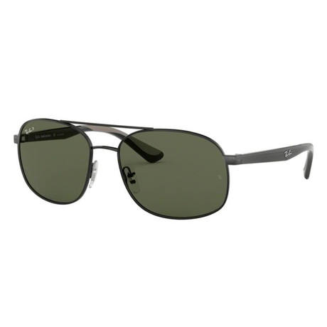 Unisex Aviator Sunglasses // Black + Green