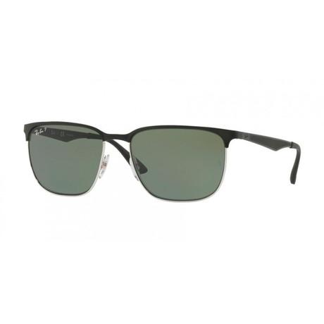 Men's Rectangular Sunglasses Polarized // Black + Green