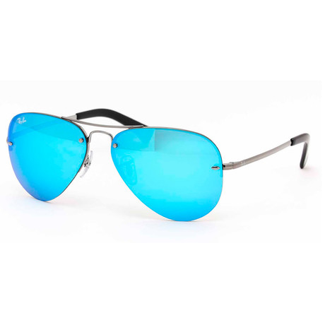 Unisex Aviator Sunglasses // Silver + Blue