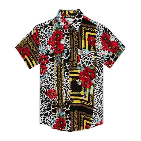 Floral & Chains Woven Shirt // Red (S)